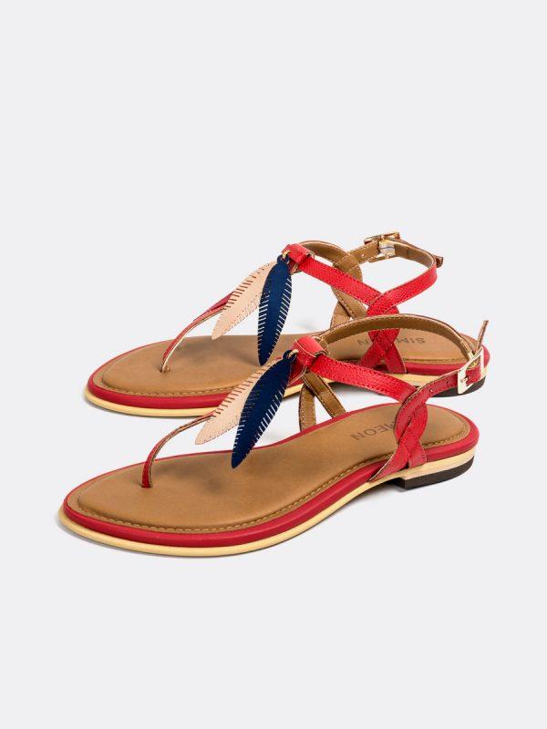 TALIS3, Todos los zapatos, Sandalias, Sandalias Planas, Sintético, ROJ, Vista Galeria