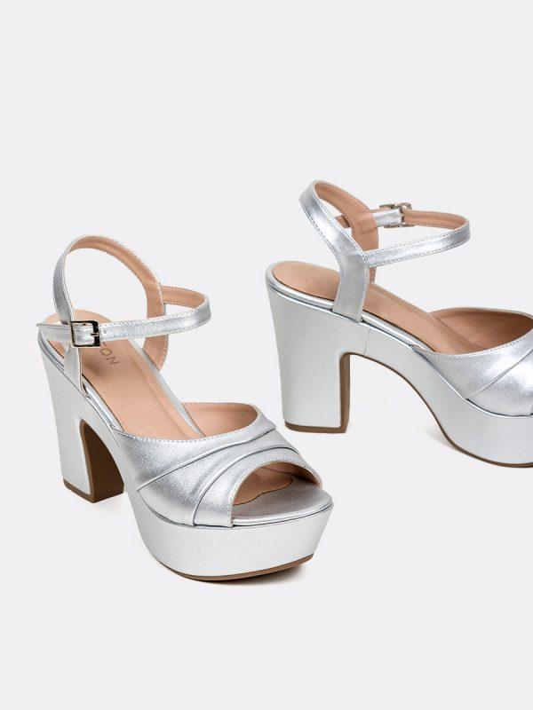 MALAK, Todos los zapatos, Plataformas, Sandalias Plataformas, Sintético, PLATEADO, Vista Galeria