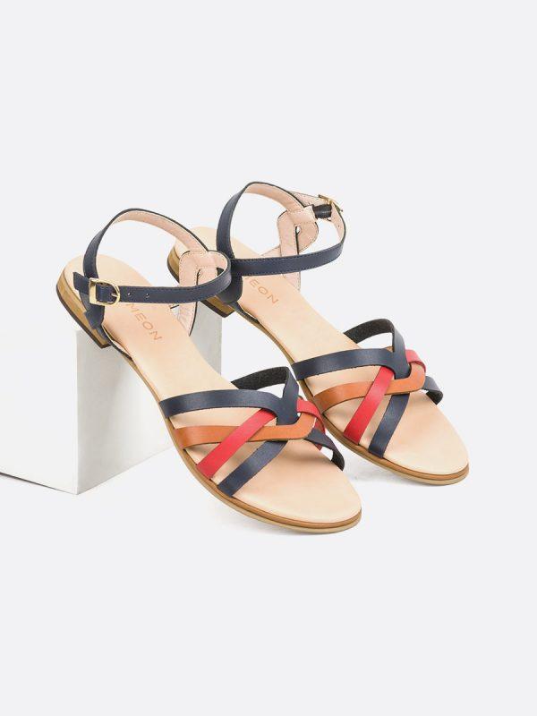 KASY3, Todos los zapatos, Sandalias Planas, Sintético, AZU, Vista Galeria