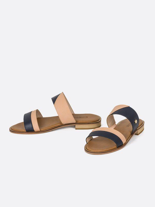 SLIDE, Todos los zapatos, Sandalias Planas, Sintético, AZU, Vista Galeria