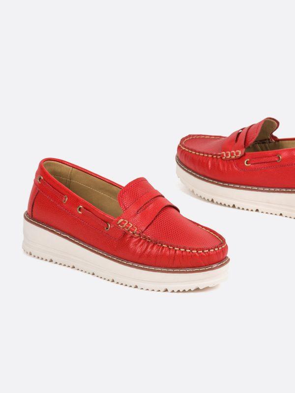 MALY, Todos los zapatos, Mocasines, Cuero, ROJ, Vista Galeria